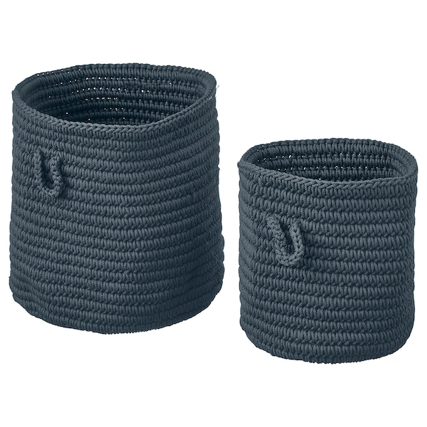 NORDRANA Basket, set of 2, blue