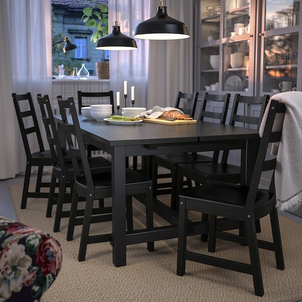 NORDVIKEN Extendable table, black, 210/289x105 cm