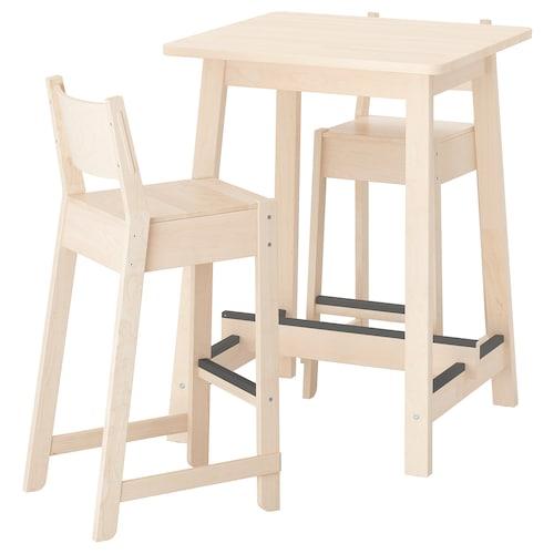 NORRÅKER / NORRÅKER bar table and 2 bar stools birch birch 74 cm