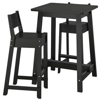 NORRÅKER / NORRÅKER طاولة عالية و 2 مقعد عالي, أسود/أسود, 74 سم
