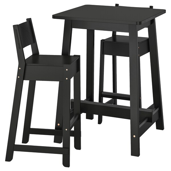 Swell Bar Table And 2 Bar Stools Norraker Norraker Black Black Andrewgaddart Wooden Chair Designs For Living Room Andrewgaddartcom