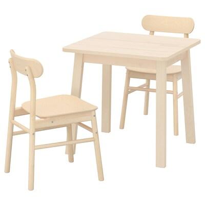 NORRÅKER / RÖNNINGE طاولة وكرسيان, بتولا/بتولا, 74x74 سم