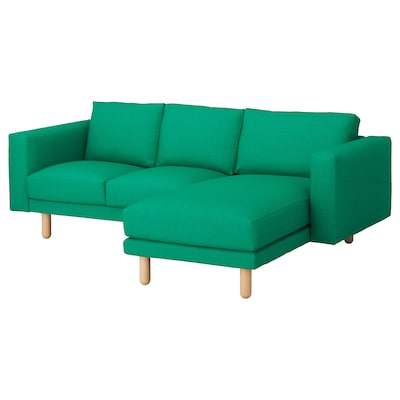 NORSBORG 3-seat sofa, with chaise longue/Edum bright green/birch
