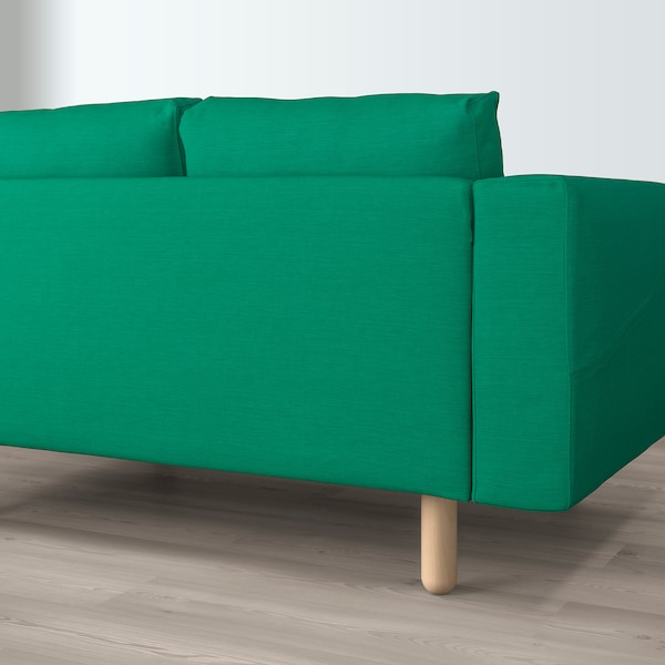 NORSBORG 4-seat sofa, with chaise longues/Edum bright green/birch