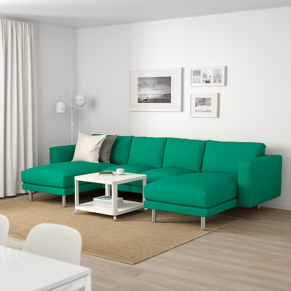 NORSBORG 4-seat sofa, with chaise longues/Edum bright green/metal