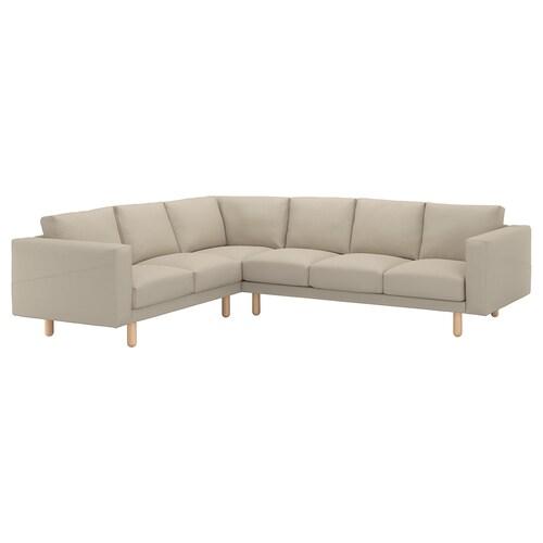 NORSBORG corner sofa, 5-seat Edum beige/birch 88 cm 85 cm 285 cm 225 cm 18 cm 60 cm 43 cm