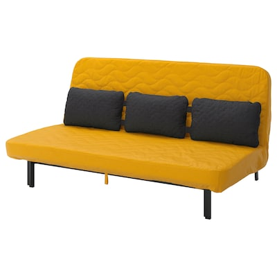 NYHAMN كنبة سرير مع مخدات ثلاثية, مع مرتبة أسفنجية/Skiftebo أصفر