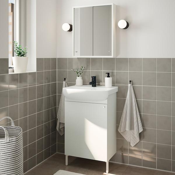 NYSJÖN / BJÖRKÅN Bathroom furniture, set of 5, white/Saljen tap, 54x40x98 cm