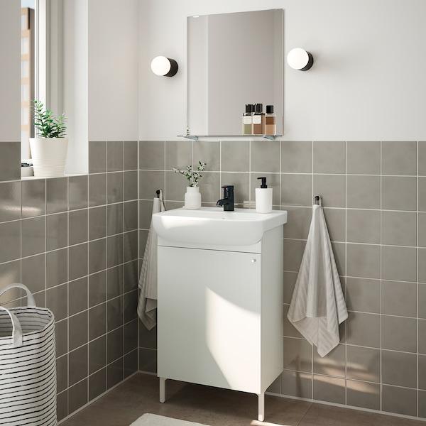NYSJÖN / BJÖRKÅN أثاث الحمّام، طقم من 5, أبيض/حنفية Saljen, 54x40x98 سم