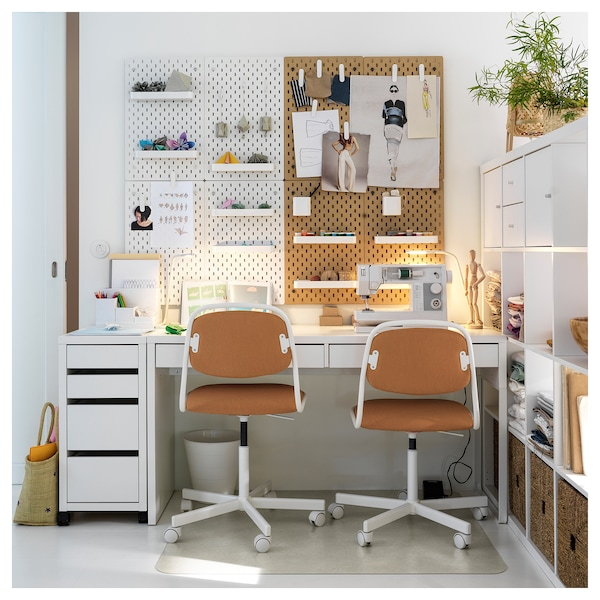 ÖRFJÄLL Swivel chair, white/Vissle dark yellow