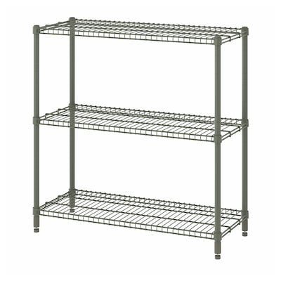 OLAUS Shelving unit, grey-green, 92x36x94 cm