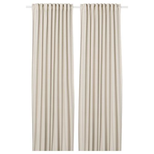 ORDENSFLY curtains, 1 pair white/beige 300 cm 145 cm 1.85 kg 4.35 m² 2 pack
