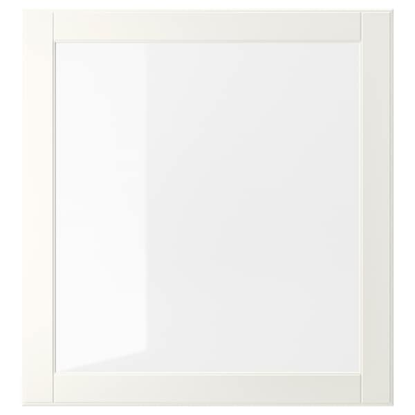 OSTVIK Glass door, white/clear glass, 60x64 cm