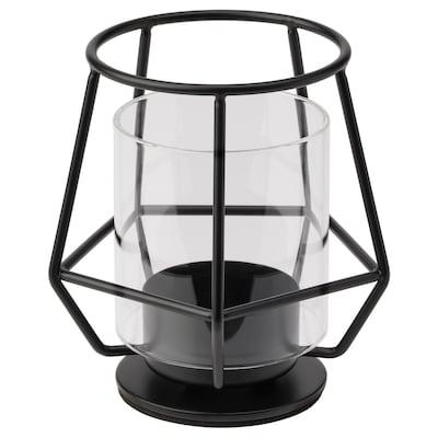 PÄRLBAND حامل شمعة صغيرة, أسود, 10 سم