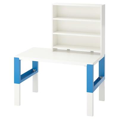 PÅHL Desk with shelf unit, white/blue, 96x58 cm