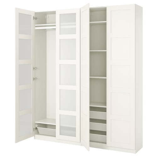 PAX / BERGSBO wardrobe combination white/frosted glass 200.0 cm 38.0 cm 236.4 cm