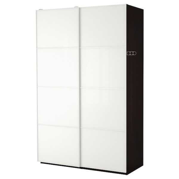 PAX wardrobe black-brown/Färvik white glass 150 cm 66 cm 236.4 cm