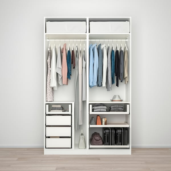 PAX Wardrobe, white/Hokksund light grey, 150x66x236 cm