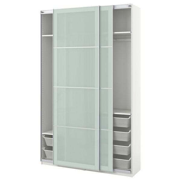 PAX wardrobe white/Sekken frosted glass 150 cm 44 cm 236.4 cm