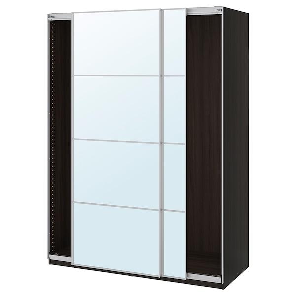 PAX Wardrobe with sliding doors, black-brown/Auli mirror glass, 150x66x201 cm