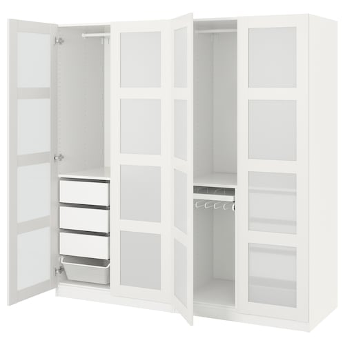 PAX wardrobe white/Bergsbo frosted glass 200.0 cm 60.0 cm 201.2 cm