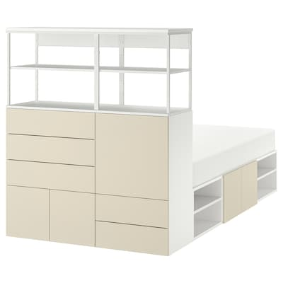 PLATSA Bed frame with 5 door+5 drawers, white/Skatval light beige, 140x244x163 cm