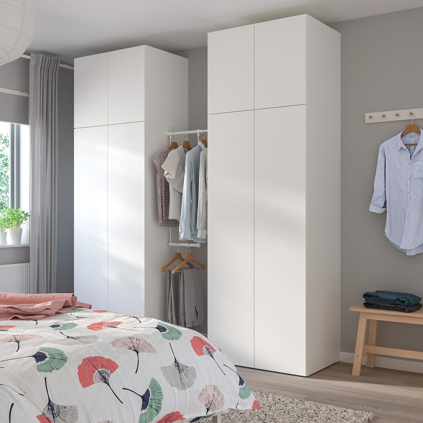 PLATSA دولاب ملابس, أبيض/Fonnes أبيض, 195-220x57x241 سم