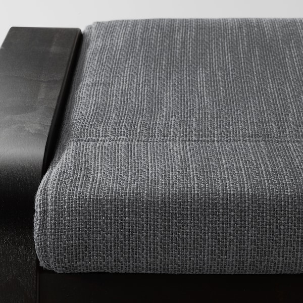 POÄNG Footstool, black-brown/Hillared anthracite