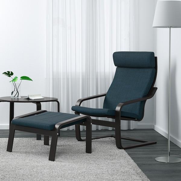 POÄNG Footstool, black-brown/Hillared dark blue