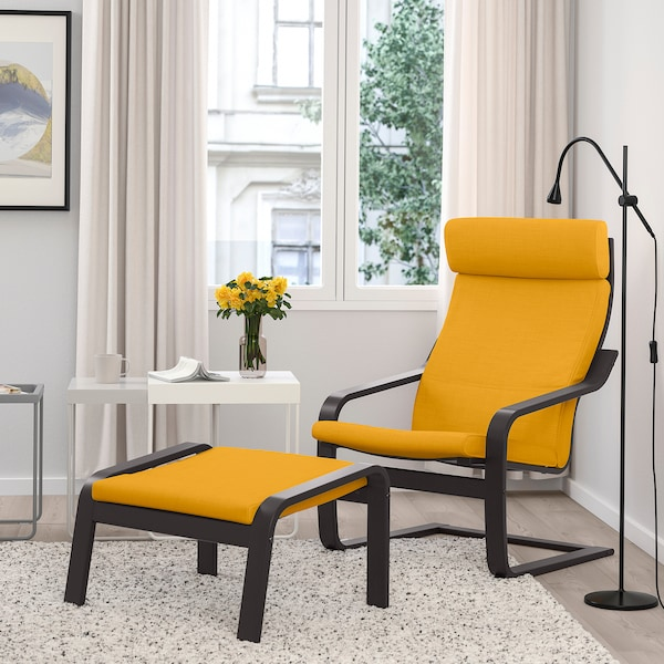 POÄNG Footstool, black-brown/Skiftebo yellow