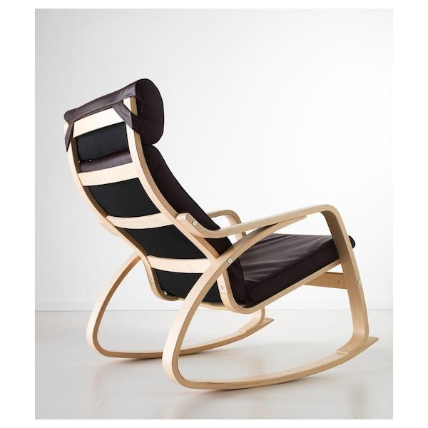 POÄNG Rocking-chair, birch veneer/Glose dark brown