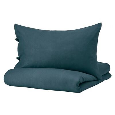 PUDERVIVA غطاء لحاف/2كيس مخدة, أزرق غامق, 240x220/50x80 سم