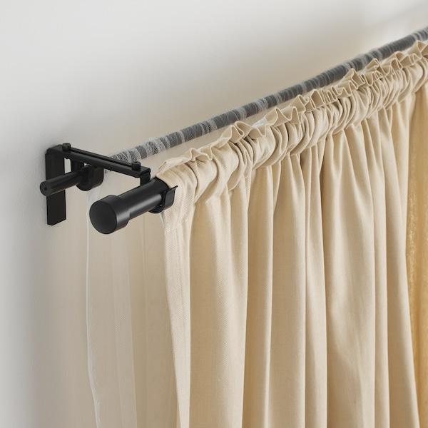 RÄCKA Curtain rod, black, 120-210 cm