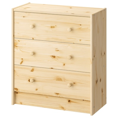 RAST Chest of 3 drawers, pine, 62x70 cm