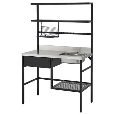 RÅVAROR مطبخ صغير, أسود, 112x60x178 سم