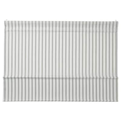 RINGBLOMMA Roman blind, white/green/striped, 140x160 cm