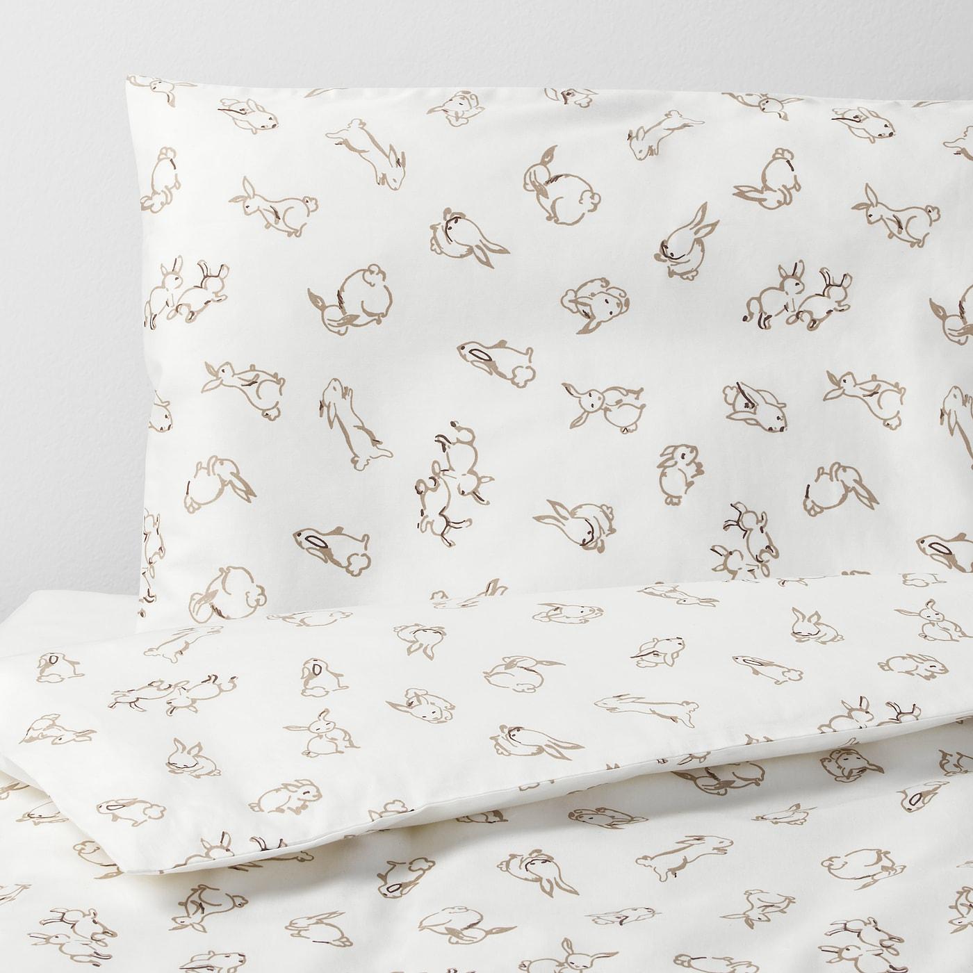 RÖDHAKE غطاء لحاف/كيس مخدة لسرير طفل - نقش أرنب/أبيض/بيج 110x125/35x55 سم