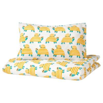 RÖRANDE غطاء لحاف وغطاء مخدة واحد للأطفال, سلحفاة أصفر, 110x125/35x55 سم