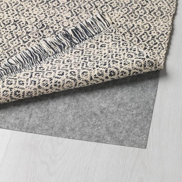 RÖRKÄR Rug, flatwoven, black/natural, 80x150 cm
