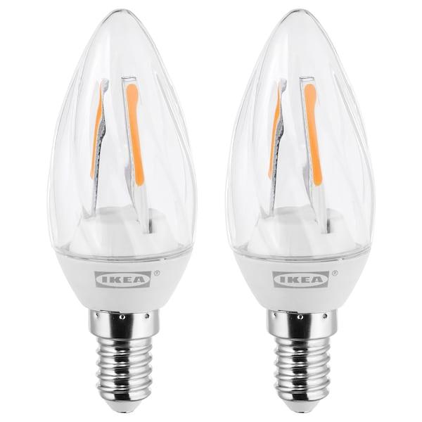 RYET LED bulb E14 200 lumen, chandelier/twisted clear, 2 pack