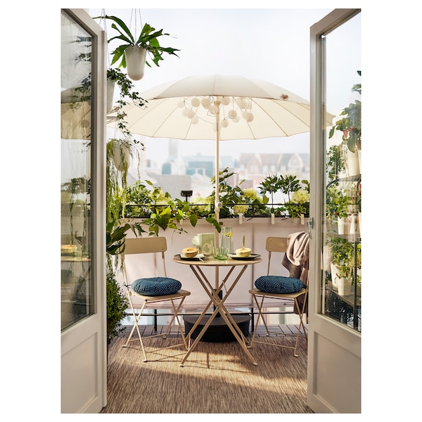 SALTHOLMEN table, outdoor foldable beige 71 cm 65 cm