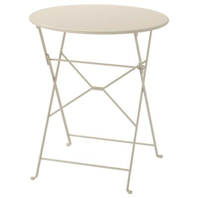 SALTHOLMEN Table, outdoor, foldable beige, 65 cm