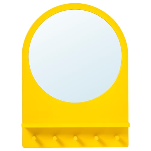 SALTRÖD mirror with shelf and hooks yellow 50 cm 68 cm