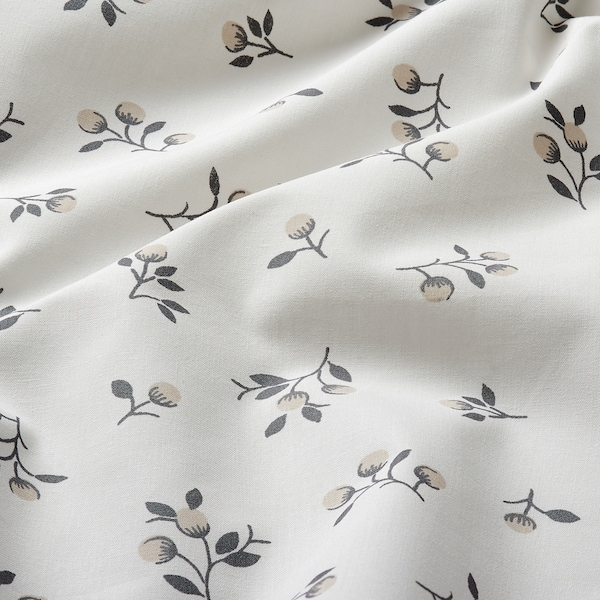 SANDLUPIN Fitted sheet, floral patterned, 180x200 cm