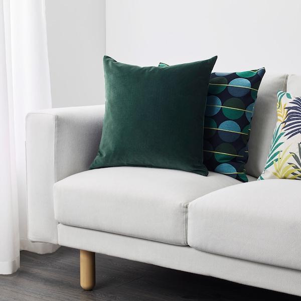 SANELA غطاء وسادة, أخضر غامق, 50x50 سم