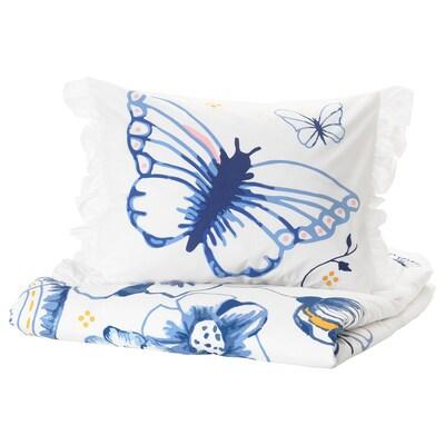 SÅNGLÄRKA غطاء لحاف/مخدة, الفراشة/أبيض أزرق, 150x200/50x80 سم