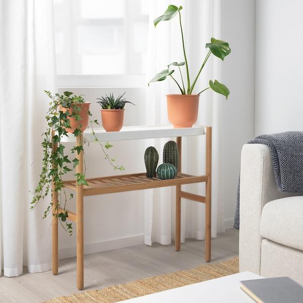 SATSUMAS Plant stand, bamboo/white, 70 cm