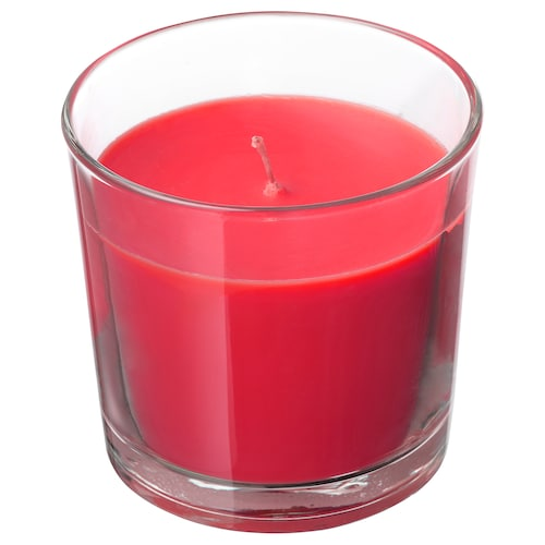 SINNLIG scented candle in glass Red garden berries/red 9 cm 40 hr