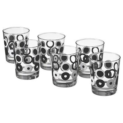 SKALDJUR Glass, black/white circle pattern, 23 clx6 pack