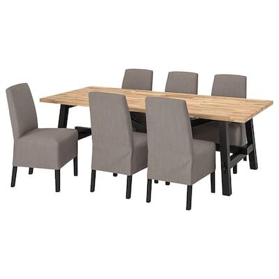 SKOGSTA / BERGMUND طاولة و 6 كراسي, اكاسيا/Nolhaga رمادي/بيج, 235x100 سم